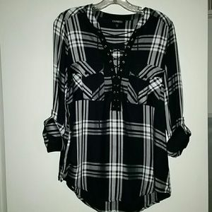 Express Flannel Lace Up Roll Tab Shirt